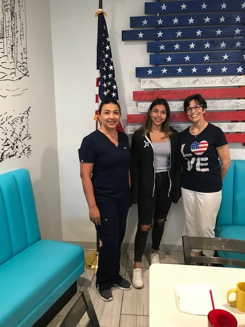 L-R is Maggie Talamantes, daughter Romie, and Linda Smith. Romie is leaving soon for the AirForce.